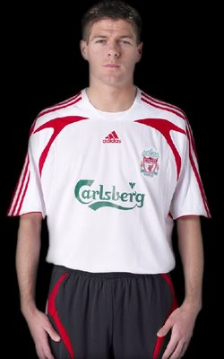 Liverpool Football Club today unveiled its stylish new away kit for 2007/08. Adidas has ditched the yellow of last year in favour of a traditional white, red and black number which is sure to find favour among the fans.