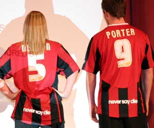 The kit also incorporates the Club's 'Never Say Die' motto along the back of the shirt.