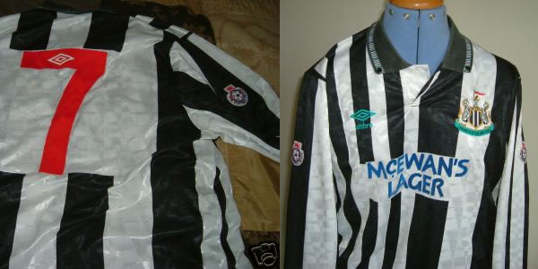 Genuine 1990's Newcastle United Youth shirts worn by midfielder Lee Clark.