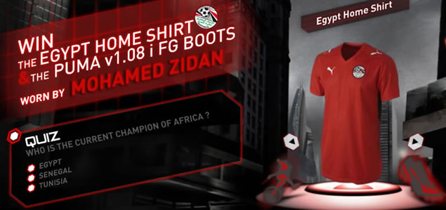 Eurosport has launched a quiz which gives us the chance to win a match worn football shirt worn my de man himself, Mohamed Zidan. There's also the chance to win his match worn V1.08 i FG boots.
