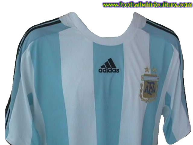 This seems to be the new Argentina home shirt for the 08/09 season made by Adidas. It's not officialy out yet, but it looks like this is it.