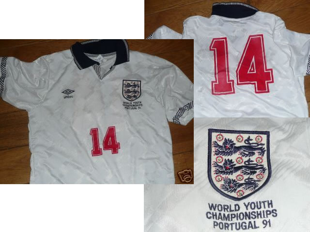 Genuine England Match Worn Football Shirt - World Youth Championships - Portugal 1991