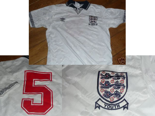 England Match Worn 1990 Shirt Youth