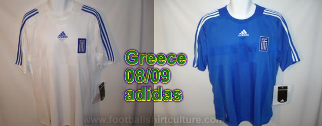 This seems to be the new Greece home and away shirts for the 08/09 season made by Adidas. It's not officially out yet, but it looks like this is it.