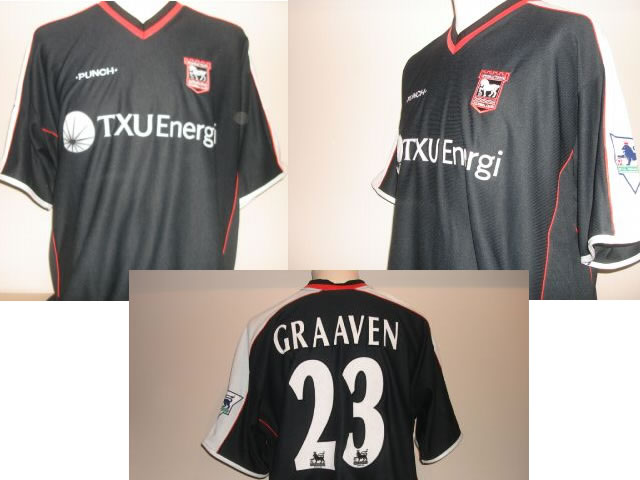 VERY RARE Ipswich Town Match Issued Player Shirt .This shirt was only used for ONE match - v Blackburn Rovers 13/03/02 .ONLY 22 of this shirt were ever produced for the club and were never available as a replica