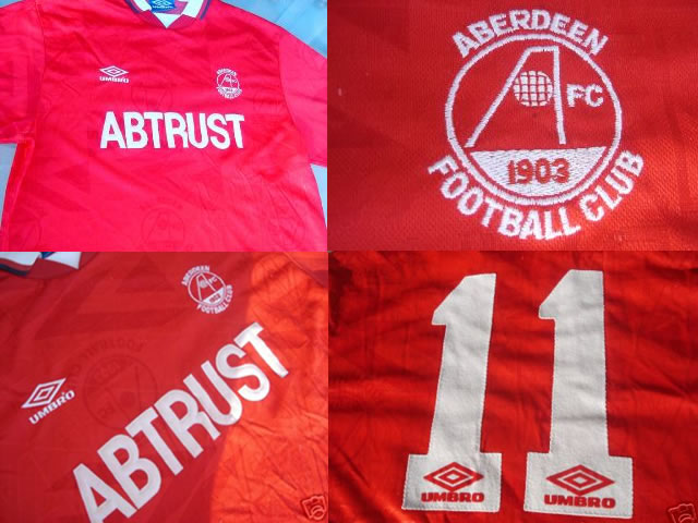 Rare Aberdeen FC 1992/93 Home Football Shirt Matchworn