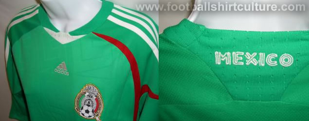 There are pictures on the web of this new green mexico shirt for the 08/09 season made by Adidas. Mexico recently decided to change their home colour to white , so probably this version was already finished before that. Could this be the new Mexico 3rd away shirt?