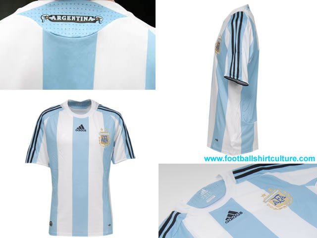 First impression of the new Adidas Argentina home shirt is a nostalgic nod back in time to the historic jersey immortalised by Mario Kempes in winning the Argentina World Cup in 1978