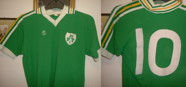 MATCH WORN EIRE DON GIVENS SHIRT 1980 V ARGENTINA - SWAP WITH KEMPES