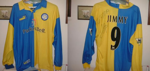MATCH WORN / ISSUED JIMMY HASSELBAINK LEEDS SHIRT - VERY RARE AS IT HAS JIMMY ON THE BACK OF THE SHIRT - HASSELBAINK WORE JIMMY ON HIS SHIRT FOR FIRST LEAGUE APPEARANCE - THIS WAS STOPPED BY FA - THIS SHIRT WAS PREPARED FOR HIS FIRST AWAY GAME.