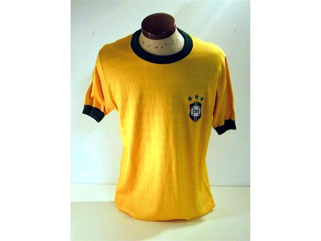 458. Brazil International Shirt: A yellow with green trim crew neck shirt with embroidered Brazil crest & 3 stars above to front, No. 2 to rear.