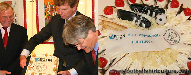 AEGON will be the new head sponsor of AFC Ajax from 1 July 2008. The sponsorship deal between Ajax and AEGON has been laid down for a period of 7 years, in which an annual sponsorship amount of maximally 12 million euro will be paid.