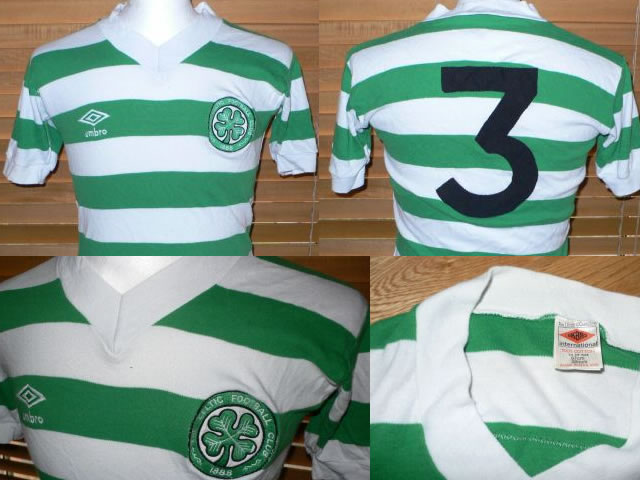 VERY HARD TO FIND NOW SEASON 79-80 UMBRO GLASGOW CELTIC HOME FOOTBALL SHIRT.