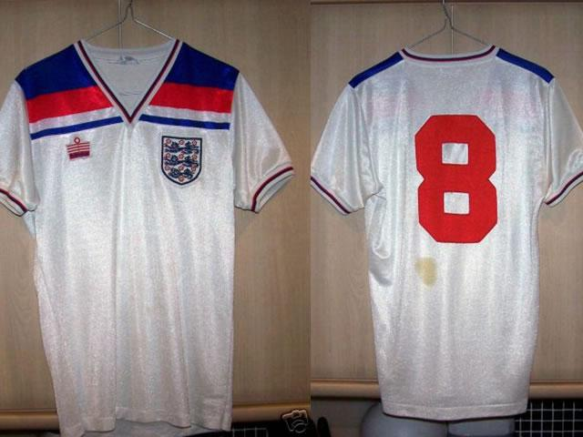 match worn/player prepared england 1982 world cup shirt made by admiral. this shirt has the number 8 on the back and was the shirt worn by trevor francis