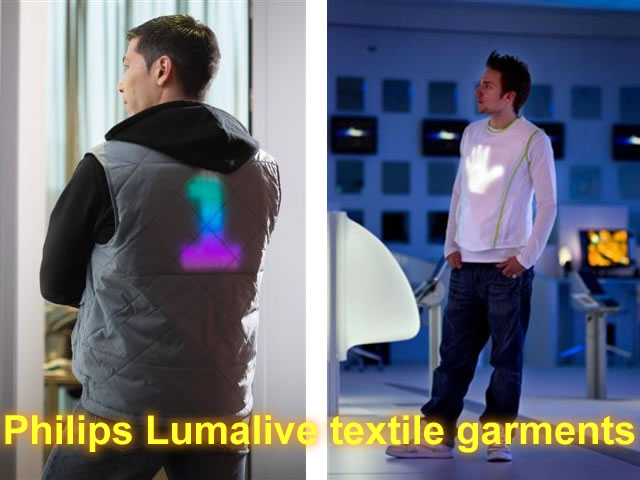 Lumalive fabrics feature flexible arrays of colored light-emitting diodes (LEDs) fully integrated into the fabric - without compromising the softness or flexibility of the cloth. These light emitting textiles make it possible to create materials that can carry dynamic messages, graphics or multicolored surfaces. Fabrics like drapes, cushions or sofa coverings become active when they illuminate in order to enhance the observer's mood and positively influence his/her behavior.