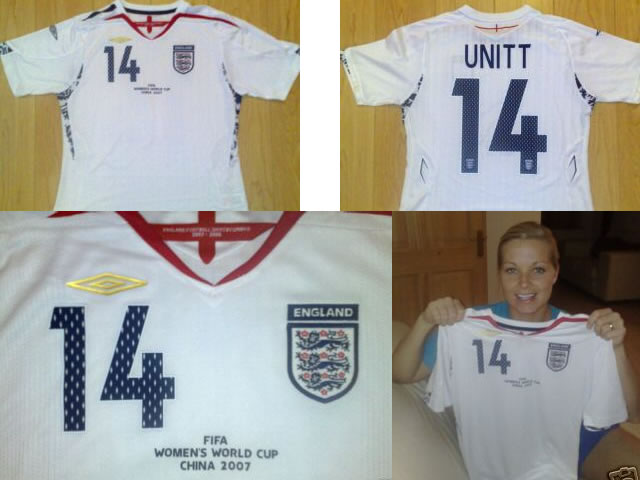 Genuine signed England shirt from the Womens World Cup China 2007...worn by Everton and England Left Back Rachel Unitt
