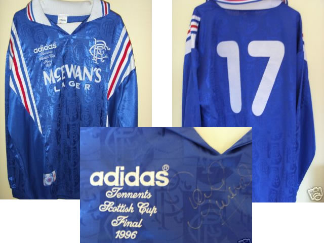 SIGNED WORN MCINNES RANGERS SCOTTISH CUP FINAL 1996