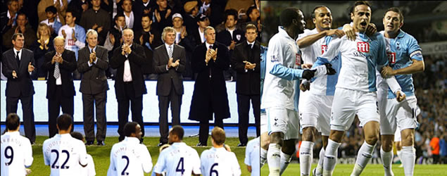 Before the game Tottenham paraded a group of club legends as they marked their 125th anniversary, and at this historic match the team were adorned in the Special Edition 125 Anniversary Kit. A blue and white halved shirt was first worn by the spurs in 1885 and a similar shirt was worn on this occasion. The one-off kit will never be worn again.