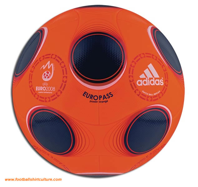 In case we're getting snow in the Alps Adidas designed the Europass Power Orange. The winter ball for Euro 2008.