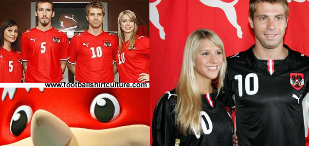 New Austria Euro 2008 home and away shirts by Puma