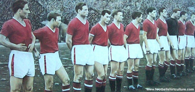 The Busby Babes before the game at Red Star Belgrade in the European Cup, the last time they were to play together