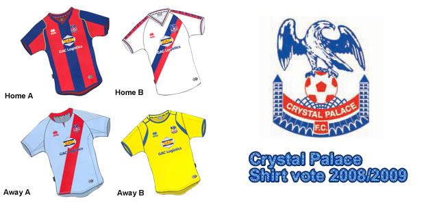The Crystal Palace kit designs for next season have now been announced and on the club's official website they give you the chance to decide on the home and away shirts which the team will be wearing for season 2008/09.