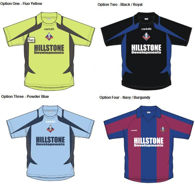 The club is once again giving fans the opportunity to choose the new kit from four designs and colourways supplied by kit manufacturers Carlotti.