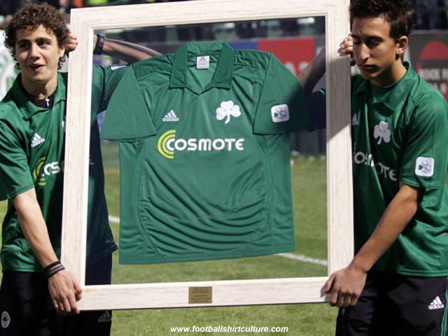 Panathinaikos launched a centenary footall shirt to celebrate the clubs 100th birthday.
