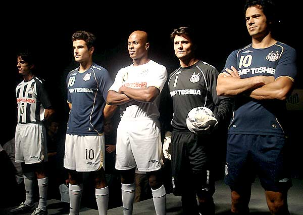 Santos launched their new home, away and 3rd kits for the 08/09 season made by umbro.