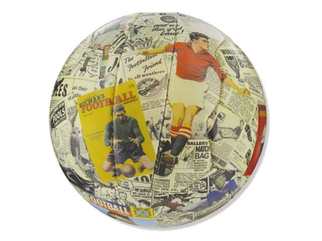 A real football with superb print quality. Can either be read and admired or kick around the park!