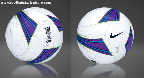 The official ball for the 2007/08 UEFA Cup final, the Nike UEFA Cup Conquest