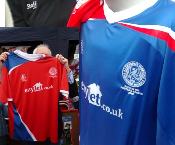 These are the new Aldershot Town home and away shirts for the 08/09 season.