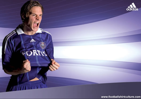 This is the new Anderlecht 08/09 Centenary home kit made by Adidas.