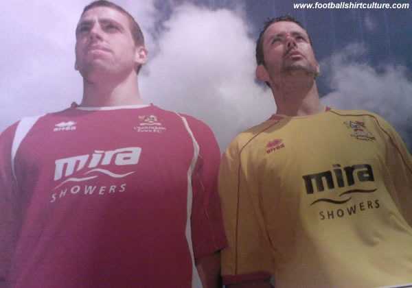 Cheltenham Town unveiled their new 08/09 home shirt made by Errea and Anthony sent us a leaked picture with the 2008-09 yellow away kit on it