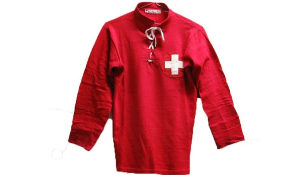 an original shirt worn by Ernst Hufschmid in Switzerland's first FIFA World Cup finals appearance in Italy in 1934.