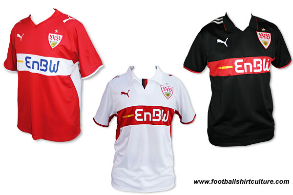 These are the new VFB Stuttgart home, away and 3rd football shirts for the 08-09 season made by Puma.