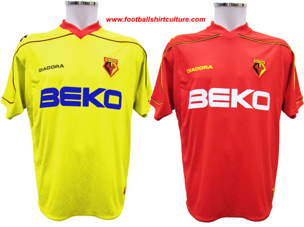 These are the new Watford home and away shirts for the 08/09 season made by Diadora