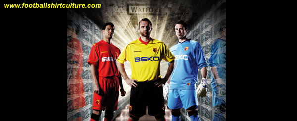 These are the new Watford home and away kits for the 08/09 season made by Diadora and the goalkeepers kit