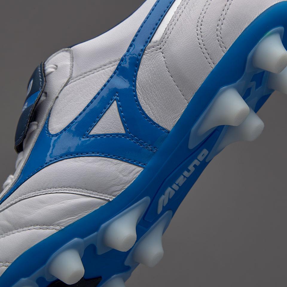 44ae15e10 Mizuno Morelia II MD - White / Directoire Blue   Football boots ...