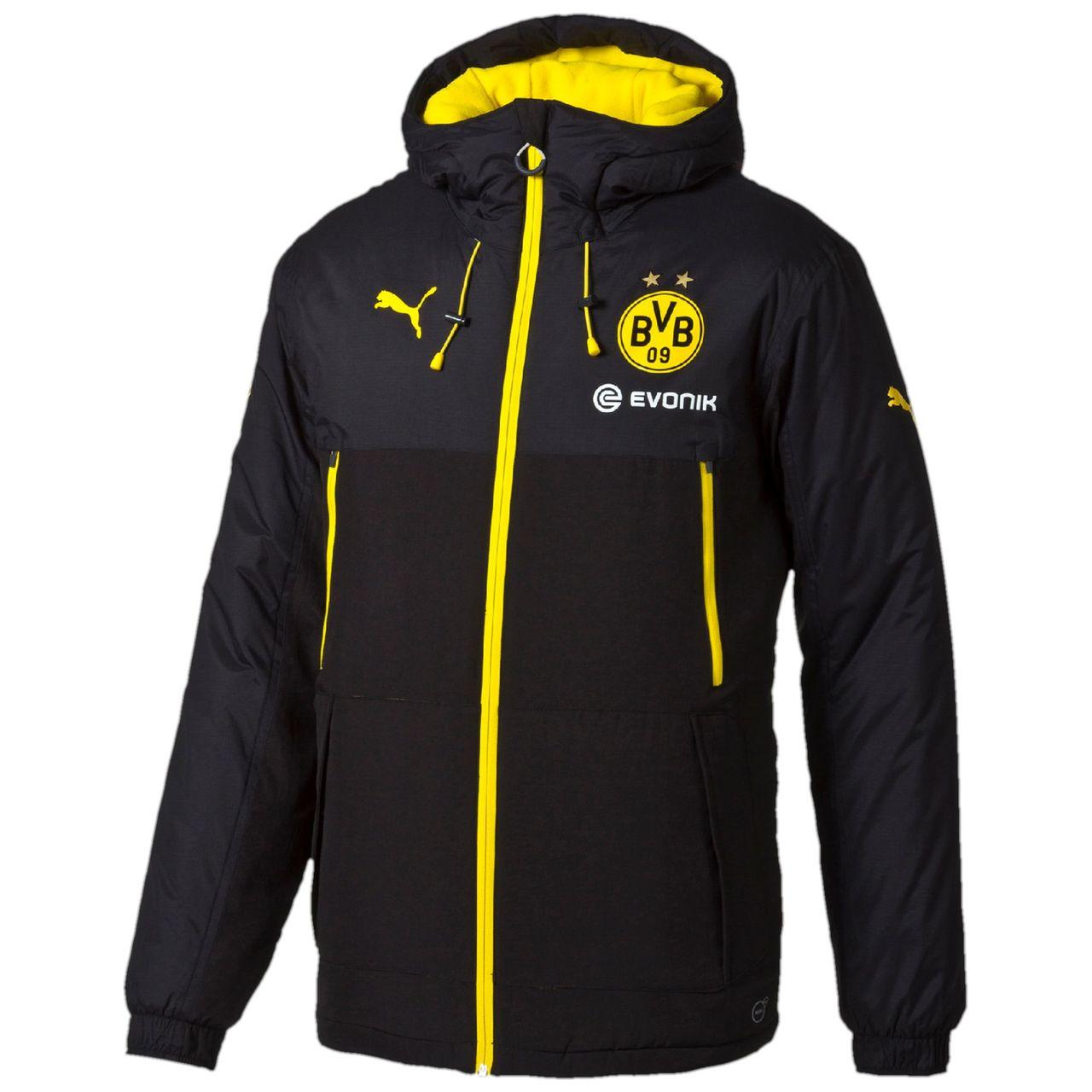 puma borussia dortmund bench jacket black cyber yellow equipment football shirt blog. Black Bedroom Furniture Sets. Home Design Ideas