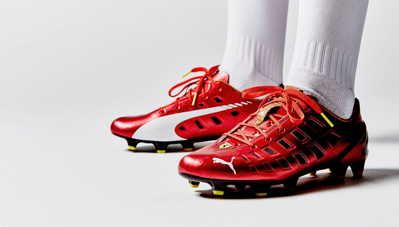 puma evospeed 1.3 f947 football boots - rosso corsa / white